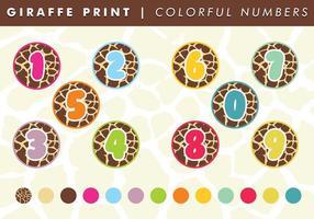 Giraffe print colorful numbers vector free
