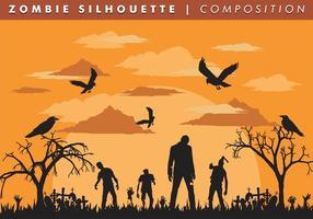 Zombie silhouette vector de composition libre