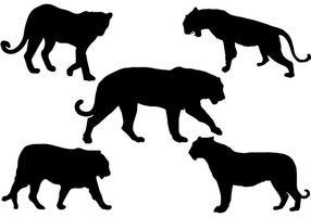 Vecteur de silhouette tigre libre