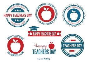 Ensemble de badge du jour de l'enseignant vecteur