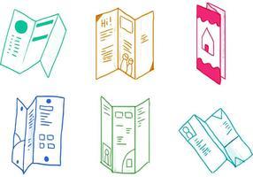 Ensemble d'icônes de brochures triples vecteur