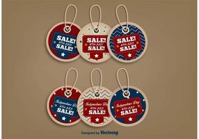 Étiquettes de vente du 4 juillet vecteur