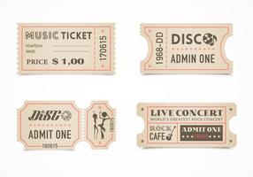 Ensemble de lot de billets de concert rétro gratuit vecteur