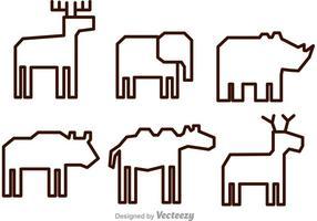 Icônes de contour de vecteur animal