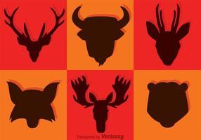 Vecteurs de silhouette de tête d'animal