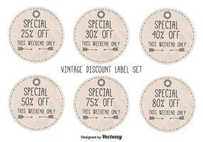Étiquettes de rabais Vintage Style vecteur