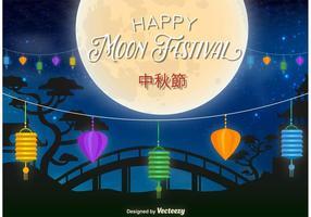 Illustration de fête de lune heureuse vecteur