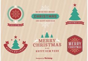 Étiquettes rétros de Joyeux Noël