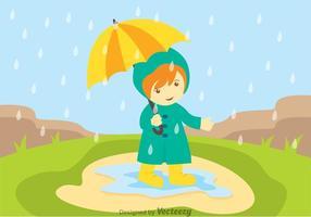 Petite fille dans les douches de printemps vecteur