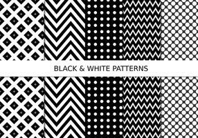 Ensemble de motifs en noir et blanc vecteur