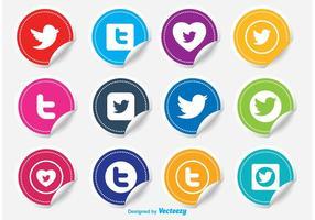Ensemble d'icônes d'autocollant Twitter vecteur