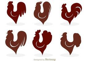 Icônes de vecteur de silhouette de coq