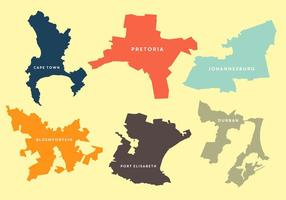 Cartes vectorielles de plusieurs villes en Afrique du Sud vecteur
