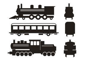 Ensemble de jeu de silhouette de train vecteur