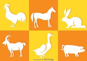 Icônes de silhouette des animaux blancs vecteur