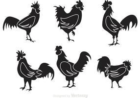 Vecteurs de silhouette de coq noir