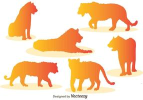 Icônes de vecteur de silhouette de tigre