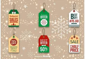 Étiquettes de promotion de Noël vecteur