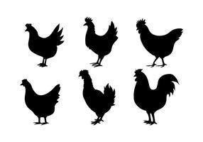 Vecteurs de silhouettes de poulet