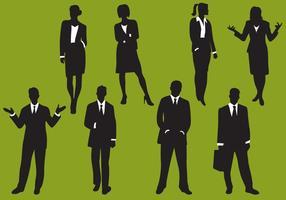 Silhouettes d'affaires de femme et d'homme vecteur