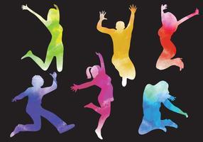 Silhouettes de saut de femme et d'homme