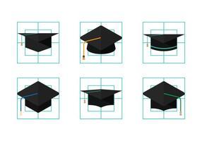 Vecteurs de chapeaux de diplômé vecteur