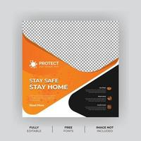 bannière de médias sociaux de prévention des virus gras orange et noir