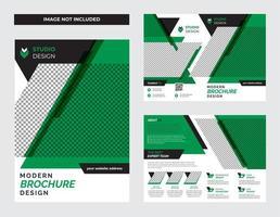 Ensemble de modèles de flyer d'entreprise vert et noir audacieux vecteur