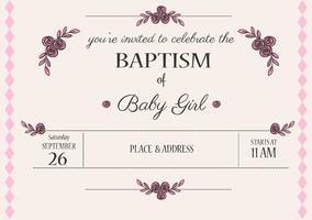 Invitation de vecteur de baptême de bébé