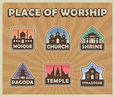 lieux de culte religion bâtiments badges vecteur
