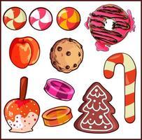 éléments de conception emballent avec différents types de bonbons et desserts. vecteur