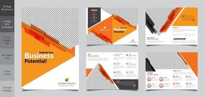 Conception de modèle de brochure de 8 pages en orange