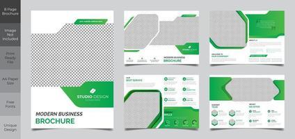 Conception de modèle de brochure de 8 pages vecteur