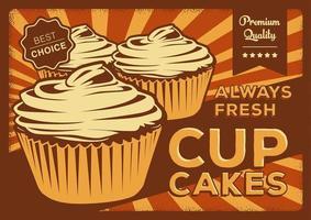 affiche vintage cupcake vecteur