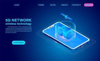 Technologie de réseau 5g sur téléphone portable vecteur