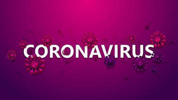 affiche d'avertissement rose avec des molécules de coronavirus