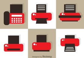 Vecteurs d'icônes d'impression et de télécopie