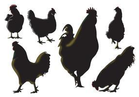 Vecteurs de silhouette de coq vecteur