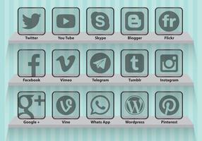 Icônes transparentes pour les médias sociaux vecteur