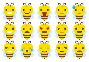 Cute Bee Emoticon Vectors