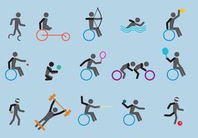 Vecteurs d'icônes sportives paralympiques vecteur