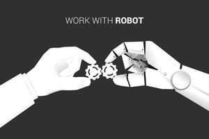 homme affaires, et, robot, main, ajustement, engrenages, ensemble