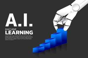 main de robot tirant le graphique bleu