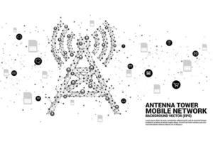 tour d'antenne en icône de carte sim style polygone vecteur