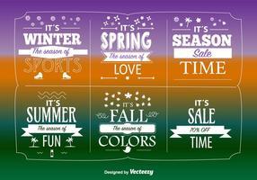 Grandes étiquettes de ventes saisonnières vecteur