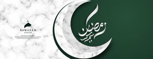 bannière de calligraphie ramadan kareem croissant de lune vecteur