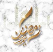 ramadan kareem mosquée d'or et fond de calligraphie vecteur