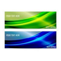 bannières vertes et bleues avec des rayons