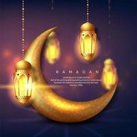 croissant de lune doré en trois dimensions pour le ramadan vecteur