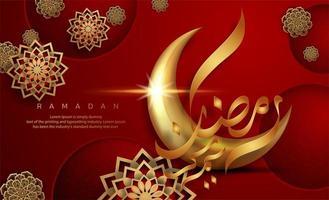ramadan kareem rouge avec des dessins de fleurs d'or vecteur